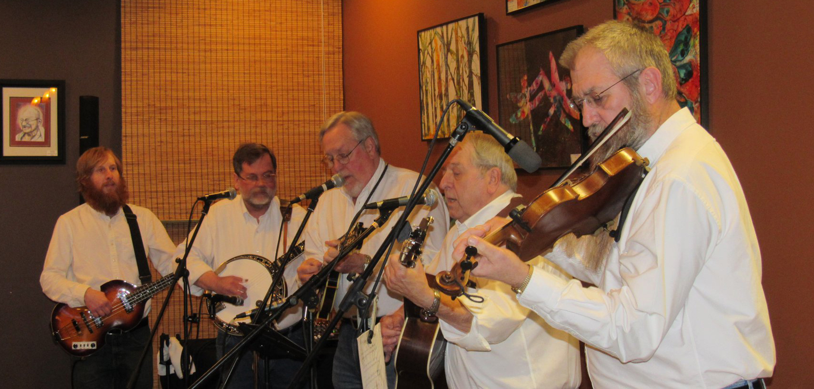 Steam Powered Bluegrass Band performing at the mics
